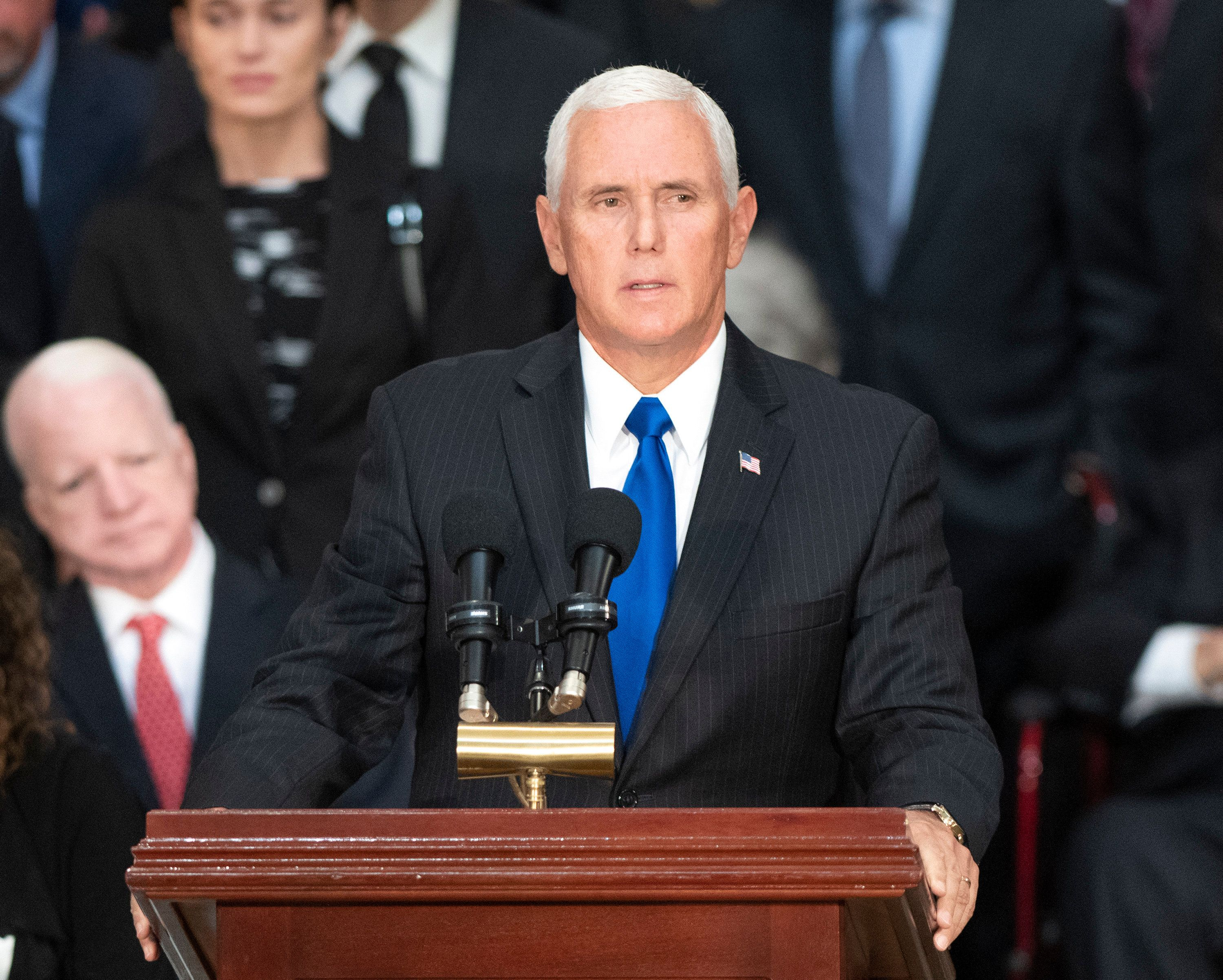 United States Vice President Mike Pence makes remarks during the Lying in State ceremony honoring the late US Senator John McCain (Republican of Arizona) in the US Capitol Rotunda in Washington, DC on Friday, August 31, 2018. Credit: Ron Sachs / CNP/Sipa USA (RESTRICTION: NO New York or New Jersey Newspapers or newspapers within a 75 mile radius of New York City)