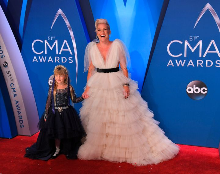51st Country Music Association Awards – Arrivals - Nashville, Tennessee, U.S., 08/11/2017 - Singer Pink and her daughter Willow. REUTERS/Harrison McClary