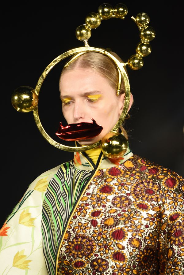 Shuting Qiu, another designer who showed her collection at the VFiles event, accessorized outfits with surreal sculptural hea