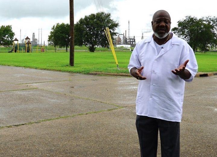 Hilton Kelley in Port Arthur, Texas, explaining how homes, parks and playgrounds lie near the city's oil refineries