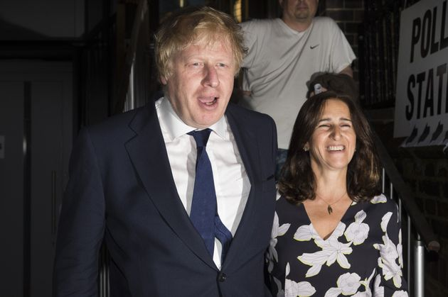 Boris Johnson and wife Marina Wheeler leave after casting their votes at a polling station on the EU...