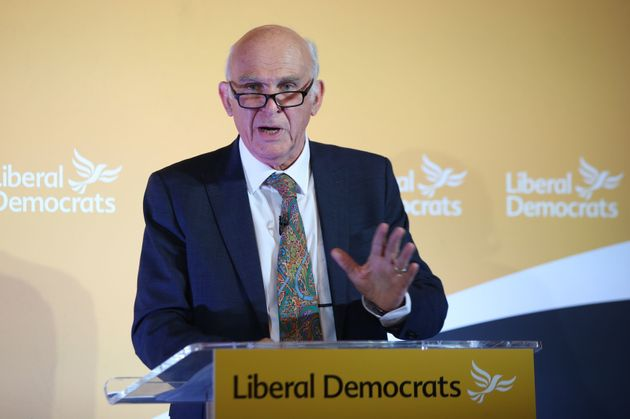 Liberal Democrat leader Sir Vince Cable giving a speech at the National Liberal Club, London on