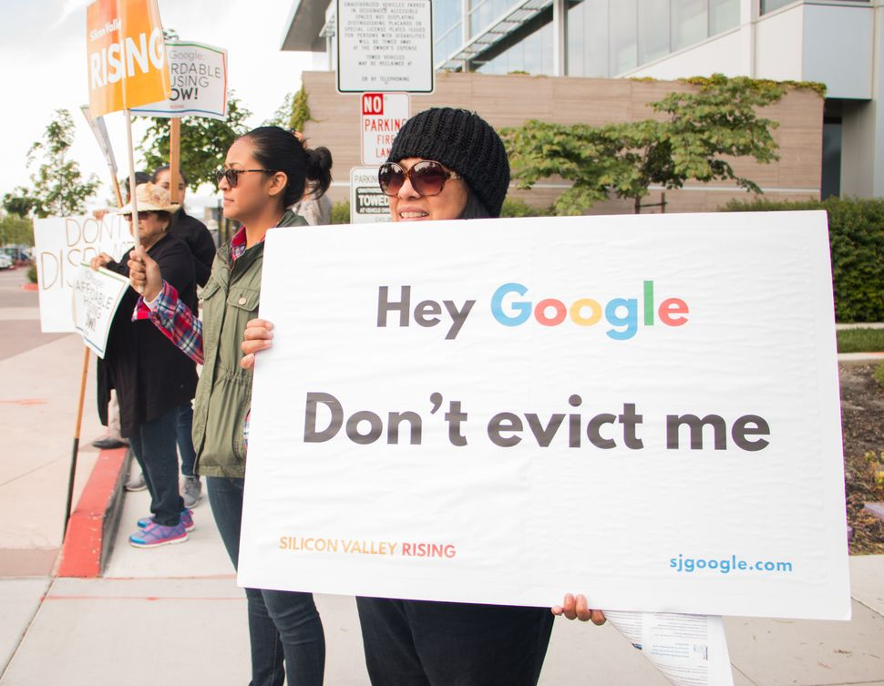 Campaigners rally outside a Google shareholder meeting in June calling on the company to ensure its new campus in San Jose su