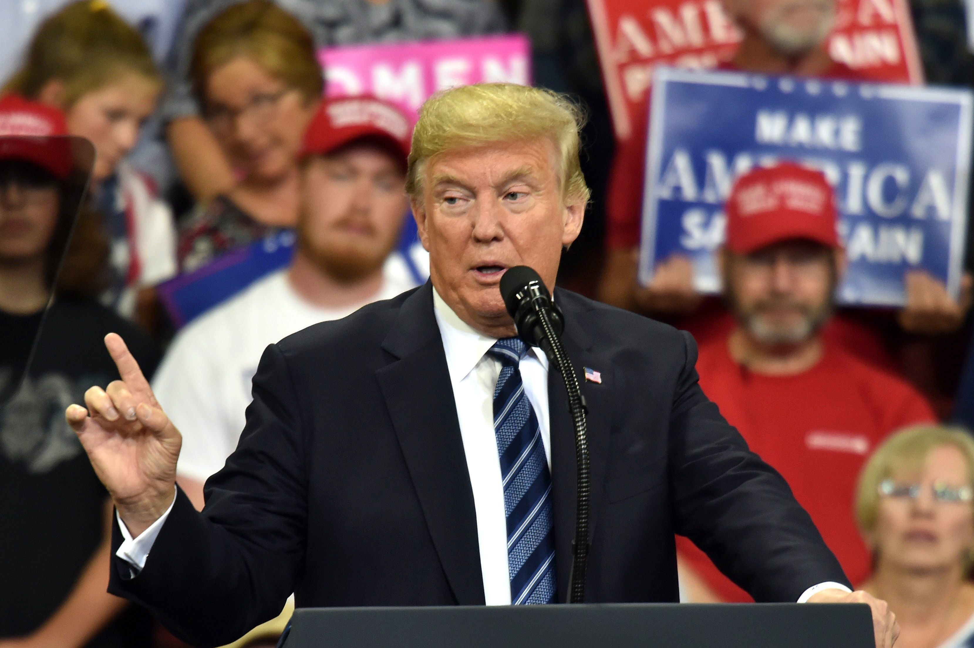 US President Donald Trump speaks during a 'Make America Great Again' rally in Billings, Montana on September 6, 2018. (Photo by NICHOLAS KAMM / AFP)        (Photo credit should read NICHOLAS KAMM/AFP/Getty Images)