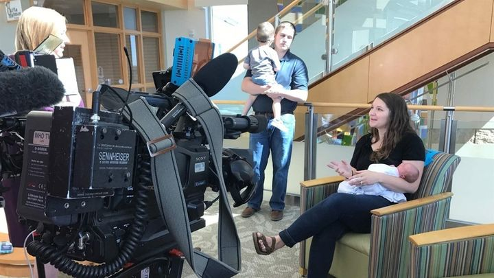An Iowa TV station interviews Emily Eekhoff of Ankeny, Iowa, in 2017, soon after her daughter Ruby was born. Eekhoff said tha