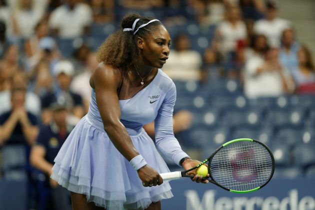 Serena Williams competes against Anastasija Sevastova during the US Open 2018 Women's singles semi final...