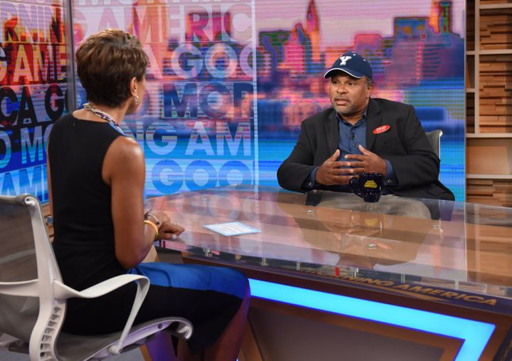 "Geoffrey Owens speaking on ""Good Morning America"" after photos of him working at Trader Joe's went viral."