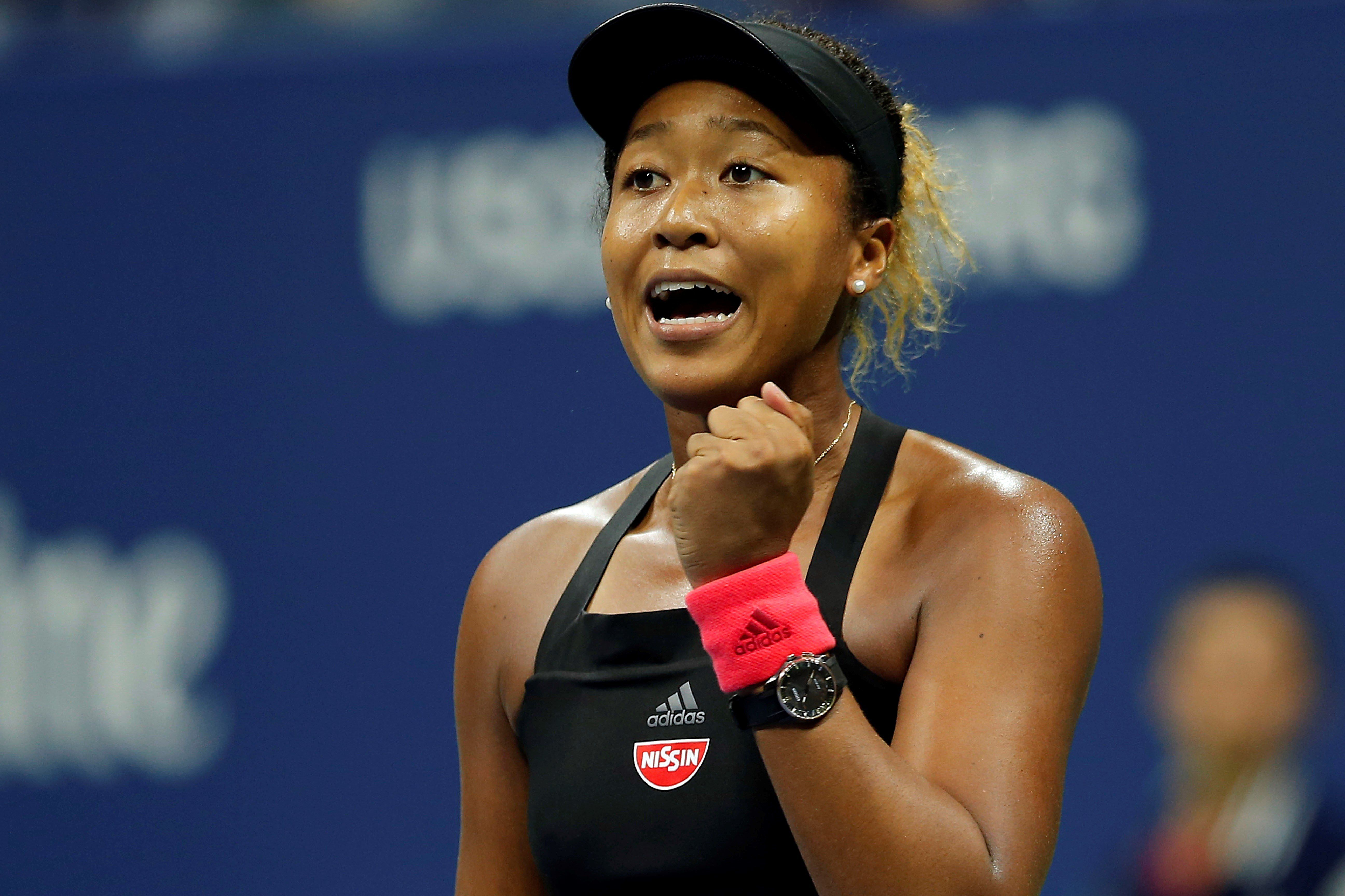 NEW YORK, USA - SEPTEMBER 6:  Naomi Osaka of Japan celebrates her win against Madison Keys (not seen) of USA in US Open 2018 women's singles semi-final match on September 6, 2018 in New York, United States. (Photo by Mohammed Elshamy/Anadolu Agency/Getty Images)