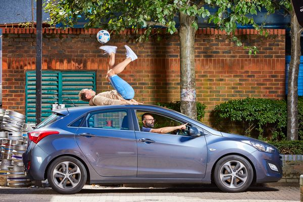 Ash Randall of Cardiff, U.K., managed to control a soccer ball with his feet while on a moving car for 93 seconds.
