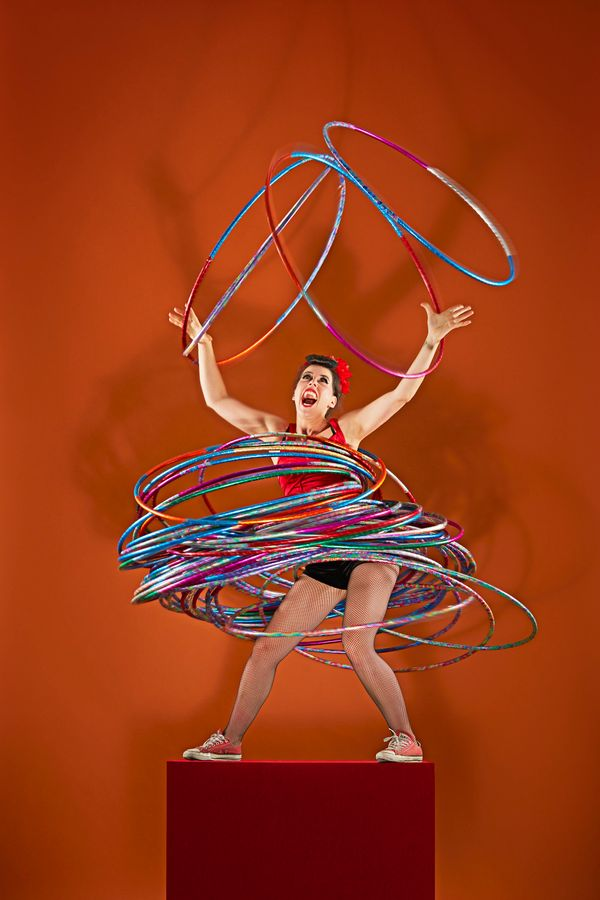 Germany's Dunja Kuhn is able to spin 59 hula-hoops at the same time on different parts of her body.