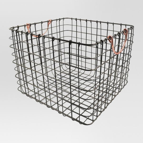 """Get it <a href=""""https://www.target.com/p/wire-large-straight-milk-crate-antique-pewter-with-copper-handle-threshold-153/-/A-5"""