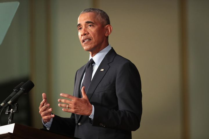 Former President Barack Obama speaks to students at the University of Illinois on September 7, 2018, in Urbana, Illinois.