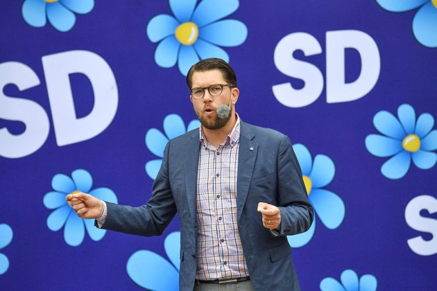 Sweden Democrats party leader Jimmie Akesson gives a speech in Landskrona, Sweden, on Aug. 31,