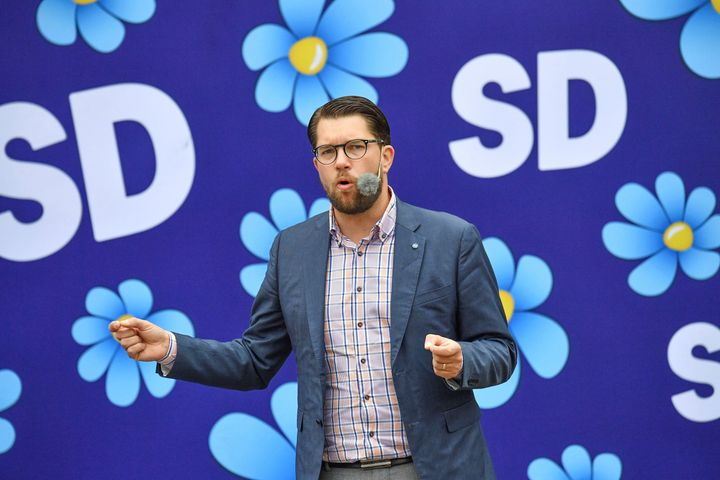 Sweden Democrats party leader Jimmie Akesson gives a speech in Landskrona, Sweden, on Aug. 31, 2018.