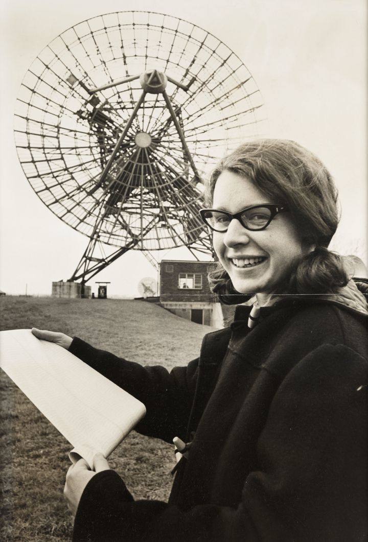 Jocelyn Bell Burnell poses at the Mullard Radio Astronomy Observatory at Cambridge University in a 1968 newspaper photo.