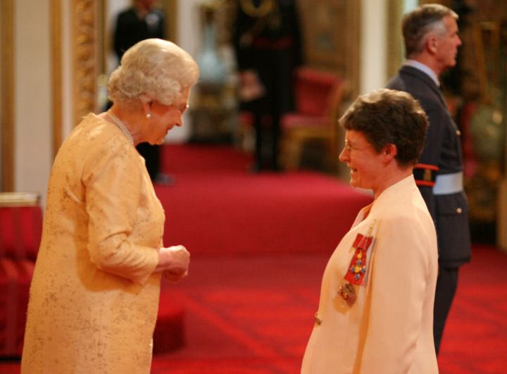 Jocelyn Bell Burnell is made a Dame Commander of the British Empire by Queen Elizabeth II at Buckingham Palace for services t