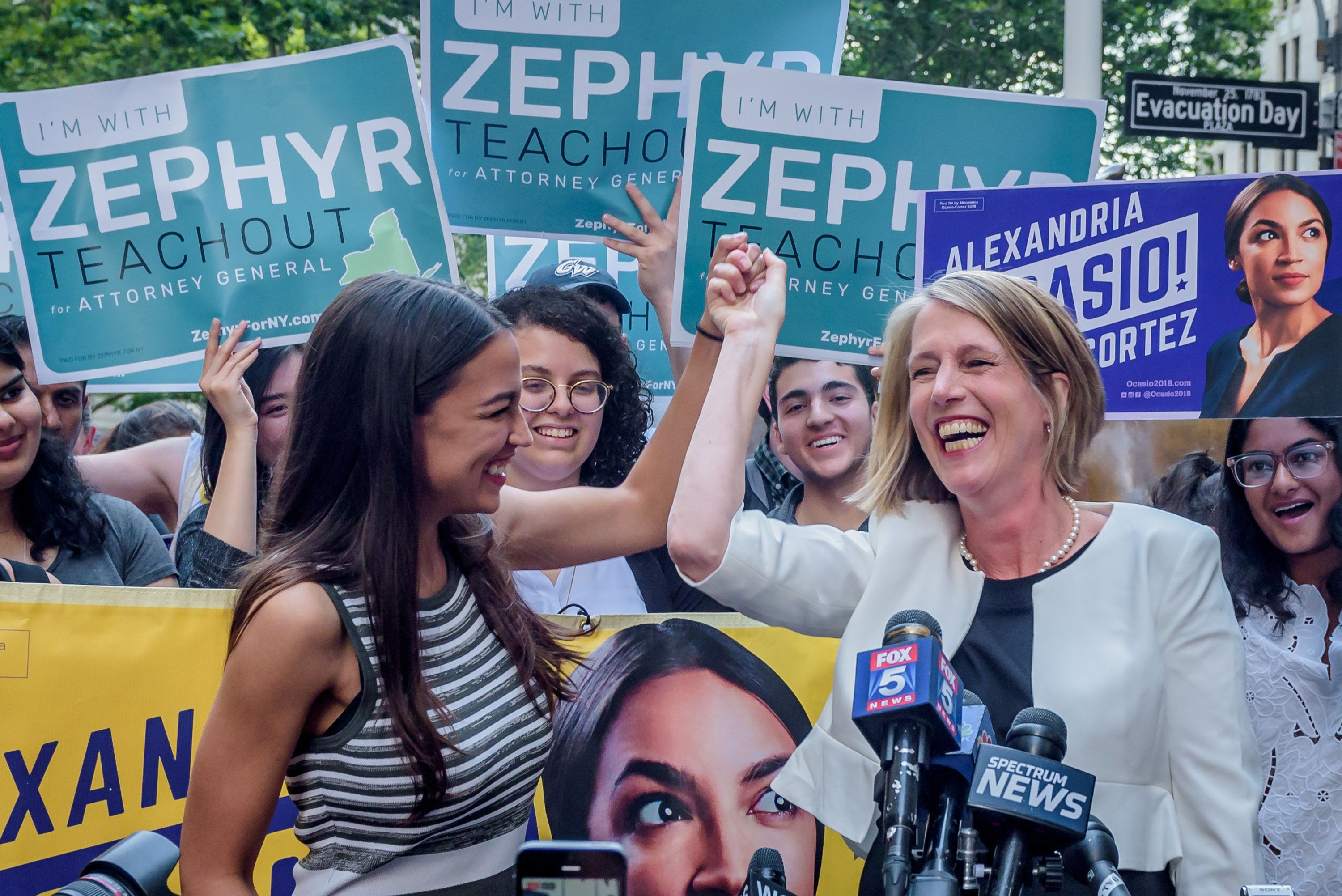 Progressive star Zephyr Teachout (right) gets an endorsement from progressive star Alexandria Ocasio-Cortez.