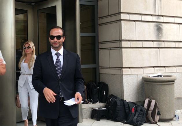 George Papadopoulos leaves a federal courthouse in Washington, D.C., on Friday after being sentenced...