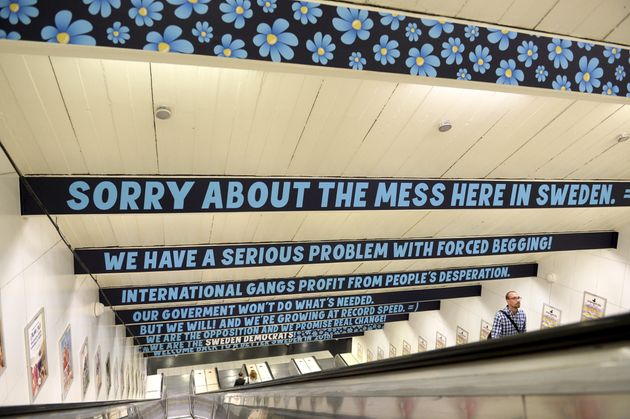 Signs put up in 2015 by the Sweden Democrats in Stockholm accuse the government of not doing