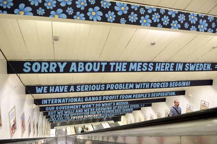 "Signs put up in 2015 by the Sweden Democrats in Stockholm accuse the government of not doing ""what's needed"" and note that th"