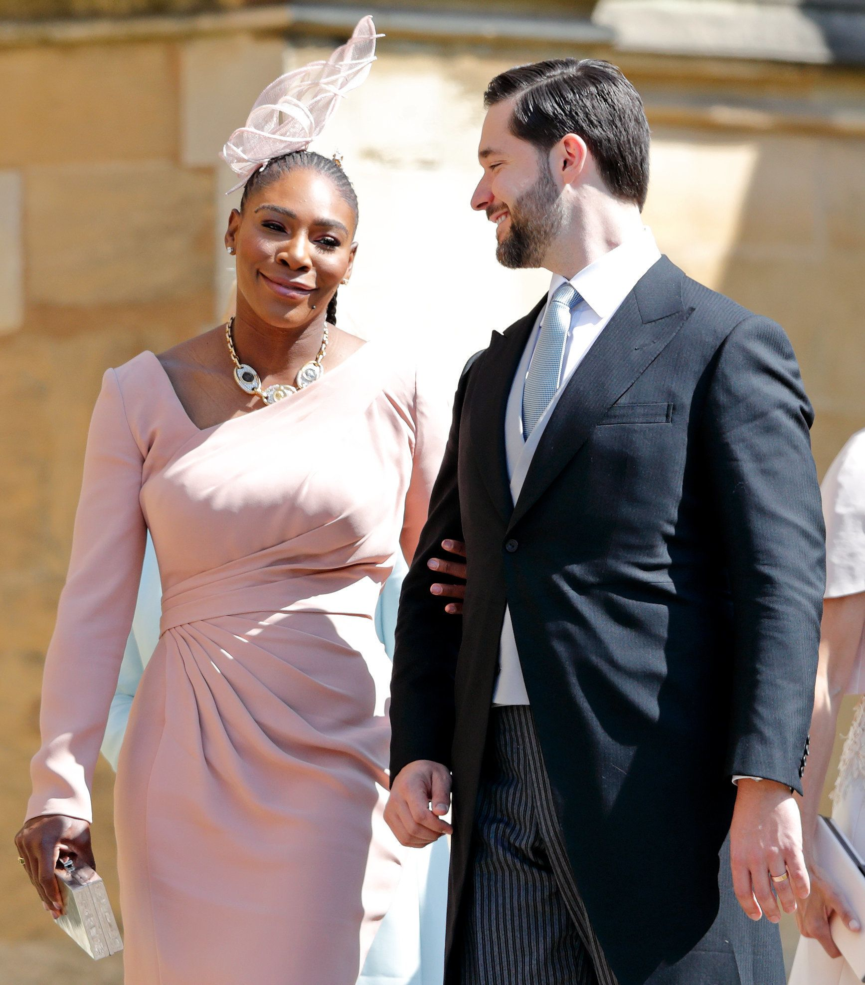 WINDSOR, UNITED KINGDOM - MAY 19: (EMBARGOED FOR PUBLICATION IN UK NEWSPAPERS UNTIL 24 HOURS AFTER CREATE DATE AND TIME) Serena Williams and Alexis Ohanian attend the wedding of Prince Harry to Ms Meghan Markle at St George's Chapel, Windsor Castle on May 19, 2018 in Windsor, England. Prince Henry Charles Albert David of Wales marries Ms. Meghan Markle in a service at St George's Chapel inside the grounds of Windsor Castle. Among the guests were 2200 members of the public, the royal family and Ms. Markle's Mother Doria Ragland. (Photo by Max Mumby/Indigo/Getty Images)