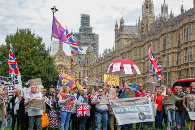 Pro-Brexit Supporters outside Parliament this week calling for the UK's immediate exit from the
