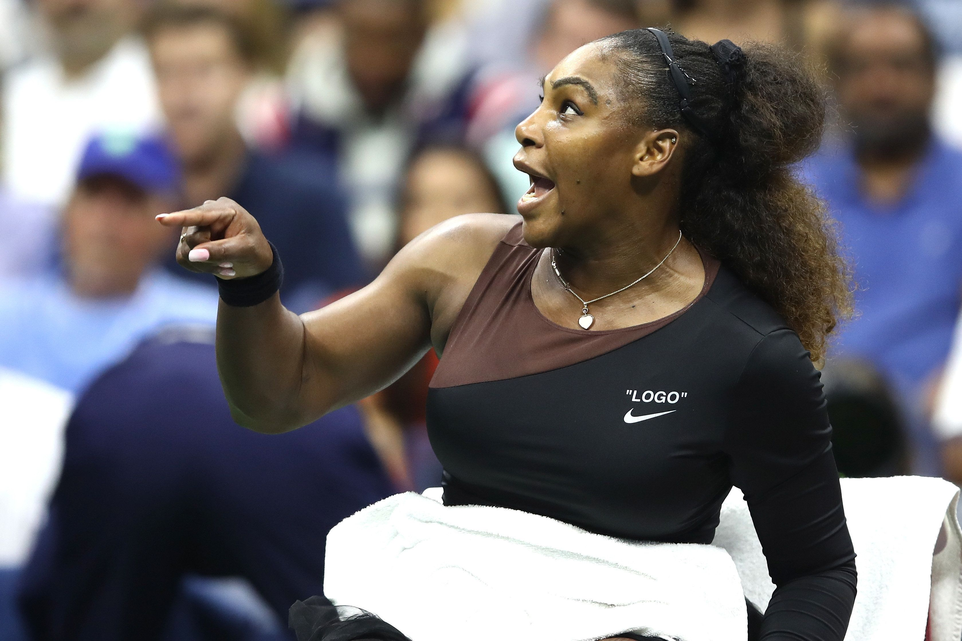 NEW YORK, NY - SEPTEMBER 08:  Serena Williams of the United States argues with umpire Carlos Ramos during her Women's Singles finals match against Naomi Osaka of Japan on Day Thirteen of the 2018 US Open at the USTA Billie Jean King National Tennis Center on September 8, 2018 in the Flushing neighborhood of the Queens borough of New York City.  (Photo by Julian Finney/Getty Images)