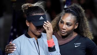 Serena Williams comforts Naomi Osaka after crowd boos