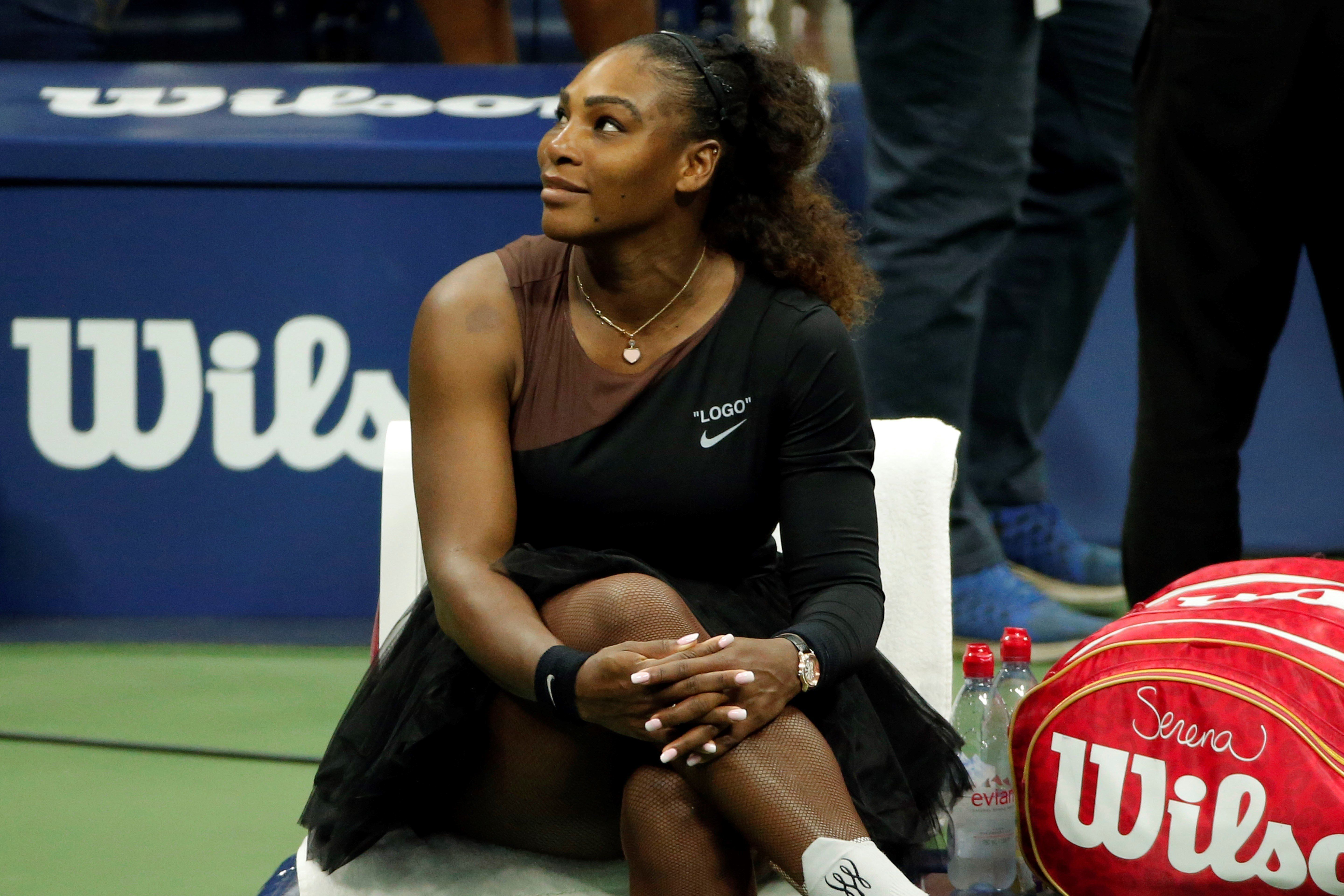 NEW YORK, USA - SEPTEMBER 8: Serena Williams of USA is seen during break within US Open 2018 women's final match against Naomi Osaka (not seen) of Japan on September 8, 2018 in New York, United States. (Photo by Mohammed Elshamy/Anadolu Agency/Getty Images)