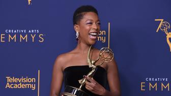 Samira Wiley poses in the press room during night one of the Creative Arts Emmy Awards at The Microsoft Theater on Saturday Sept 8 2018 in Los Angeles