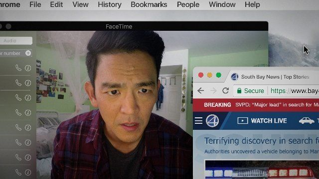 "Cho in Chaganty's movie ""Searching,"" which takes place entirely on computer and phone screens."