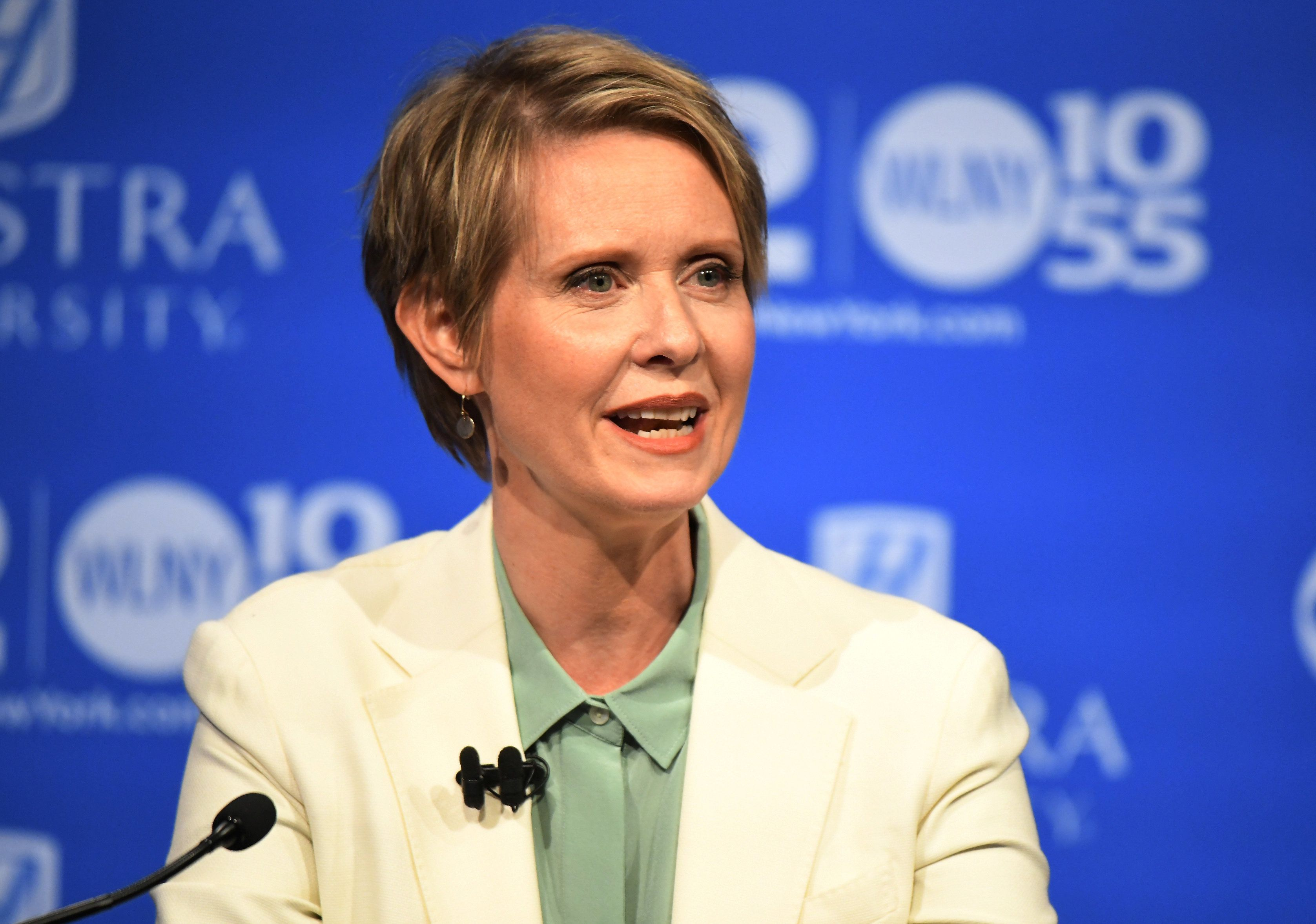 Cynthia Nixon speaks during New York's Democratic gubernatorial primary debate at Hofstra University last month.