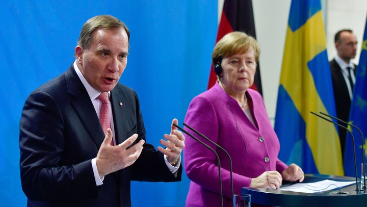 German Chancellor Angela Merkel and Sweden's Prime Minister Stefan Löfven give a joint press conference on March 16, 201