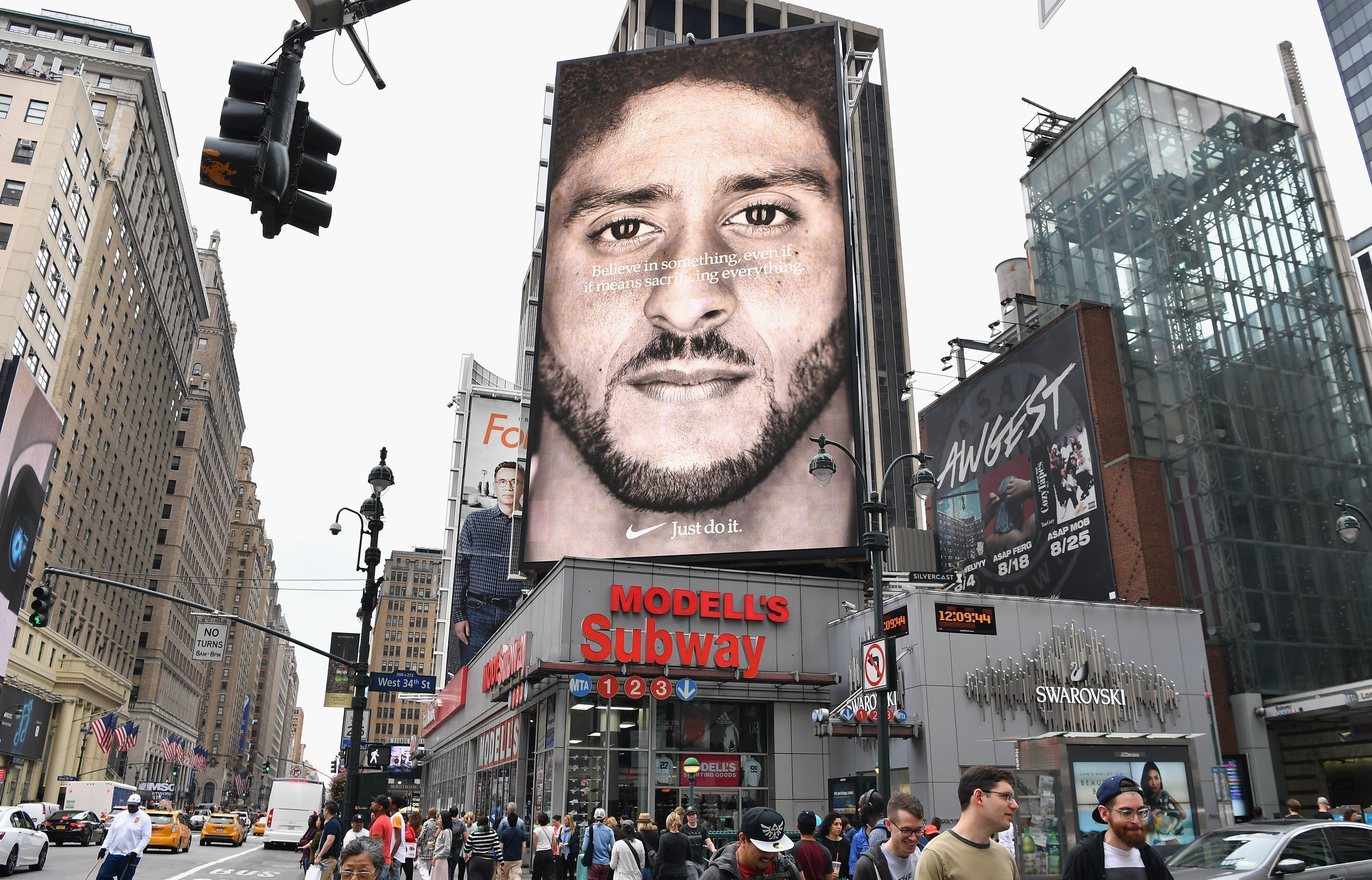 A Nike ad featuring Colin Kaepernick is seen on Sept. 8 in New York City.