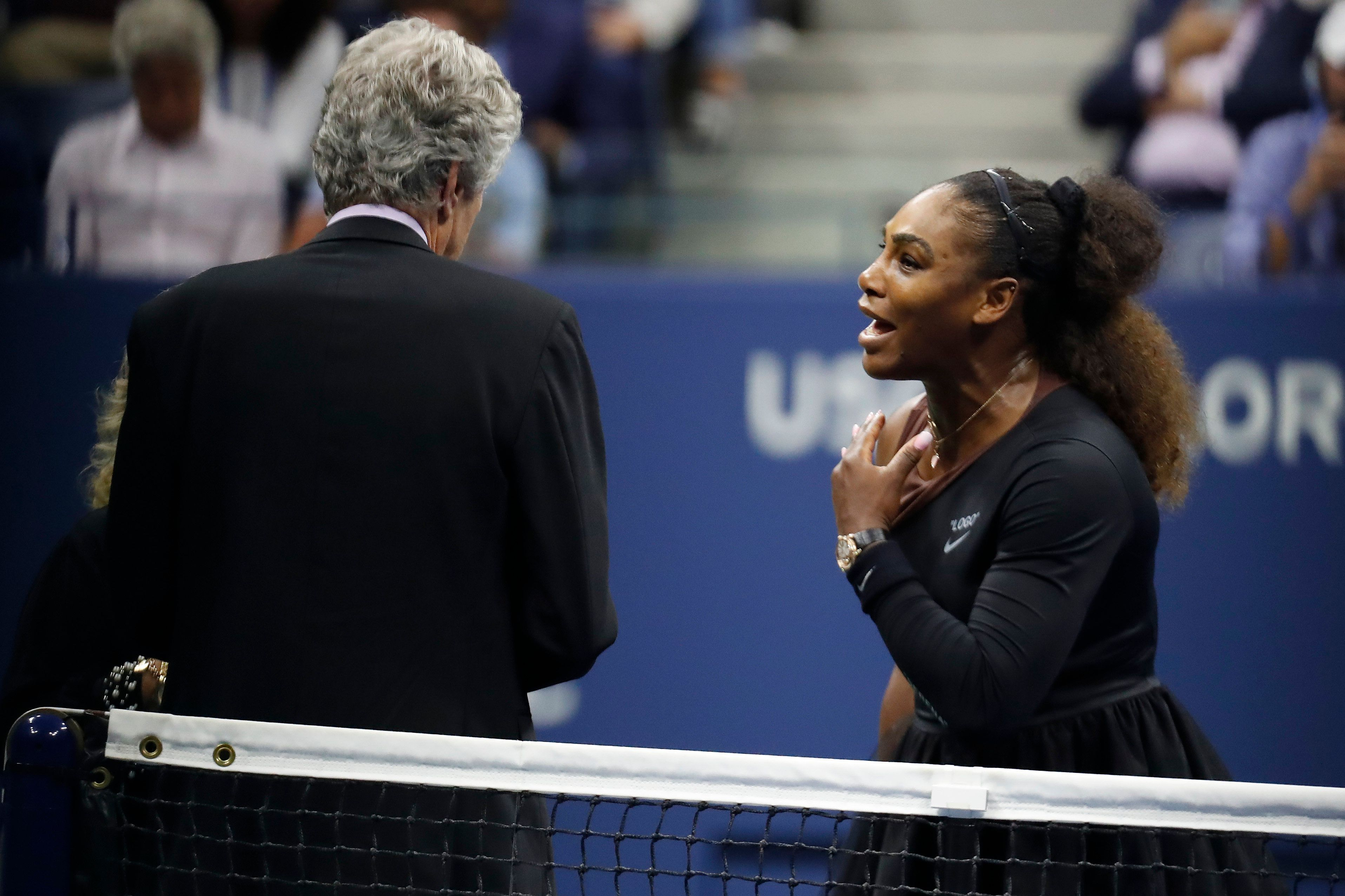 Sep 8, 2018; New York, NY, USA; Serena Williams of the United States argues with tournament referee Brian Earley (L) after being assessed a game penalty in her match against Naomi Osaka of Japan (not pictured) in the women's final on day thirteen of the 2018 U.S. Open tennis tournament at USTA Billie Jean King National Tennis Center. Mandatory Credit: Geoff Burke-USA TODAY Sports