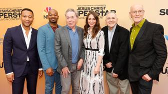 JESUS CHRIST SUPERSTAR LIVE IN CONCERT -- 'For Your Consideration Event' -- Pictured: (l-r) John Legend, Brandon Victor Dixon, Andrew Lloyd Webber, Sara Bareilles, Craig Zadan, Neil Meron at the Egyptian Theatre, Hollywood, Calif. on May 21, 2018 -- (Photo by: Evans Vestal Ward/NBC/NBCU Photo Bank via Getty Images)