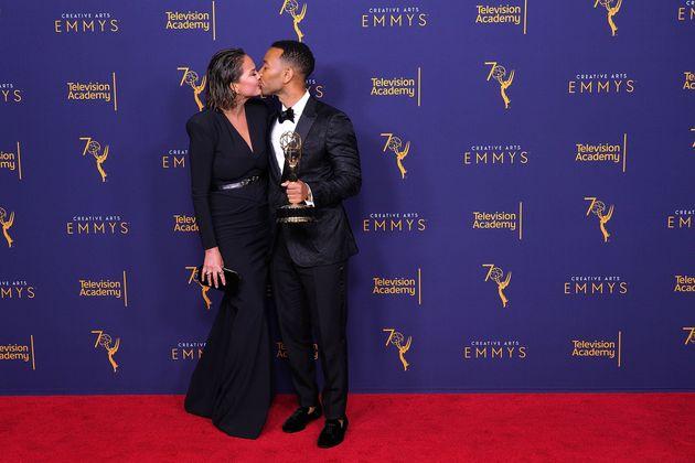 Chrissy Teigen and John Legend celebrate his Emmys