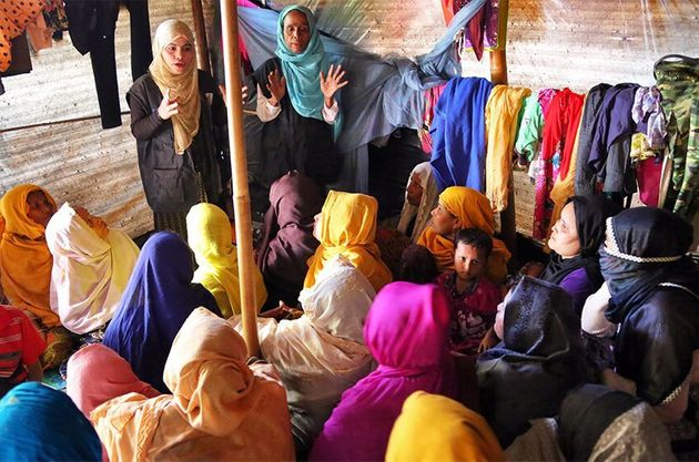 An information session for Rohingya women living in camps in Bangladesh after fleeing