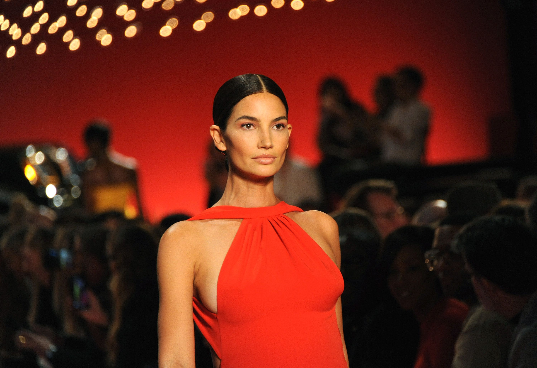Model Lily Aldridge walks the runway for the Brandon Maxwell fashion show during New York Fashion Week,...
