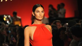 NEW YORK, NY - SEPTEMBER 08:  Model Lily Aldridge walks the runway for the Brandon Maxwell fashion show during New York Fashion Week at Classic Car Club on September 8, 2018 in New York City.  (Photo by Desiree Navarro/WireImage)