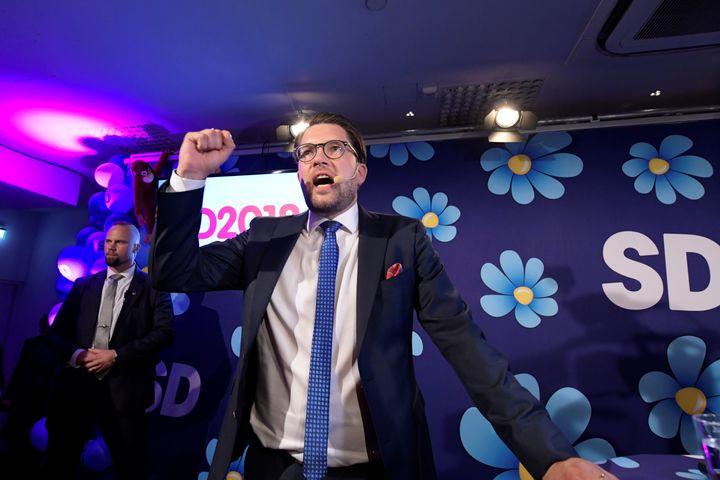 Sweden Democrats party leader Jimmie Akesson speaks on election evening at Kristallen restaurant in central Stockholm, Sept. 9.