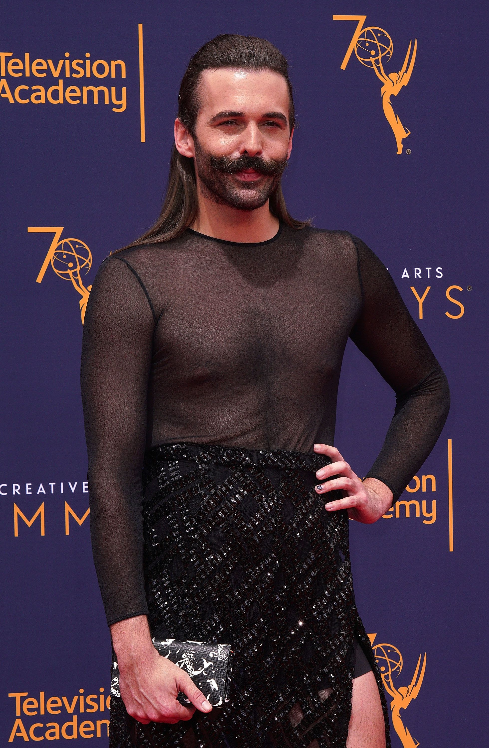 LOS ANGELES, CA - SEPTEMBER 09:  Jonathan Van Ness attends the 2018 Creative Arts Emmy Awards at Microsoft Theater on September 9, 2018 in Los Angeles, California.  (Photo by JC Olivera/WireImage)