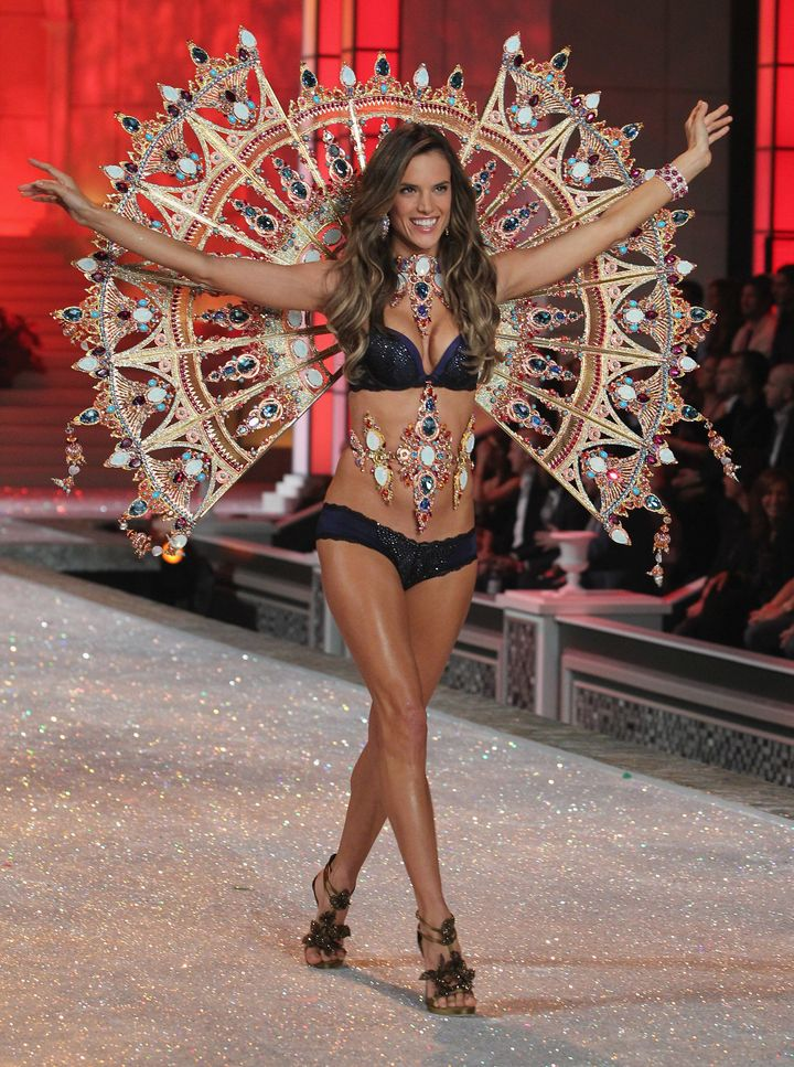 Alessandra Ambrosio struts down the runway during the 2011 Victoria's Secret Fashion Show.