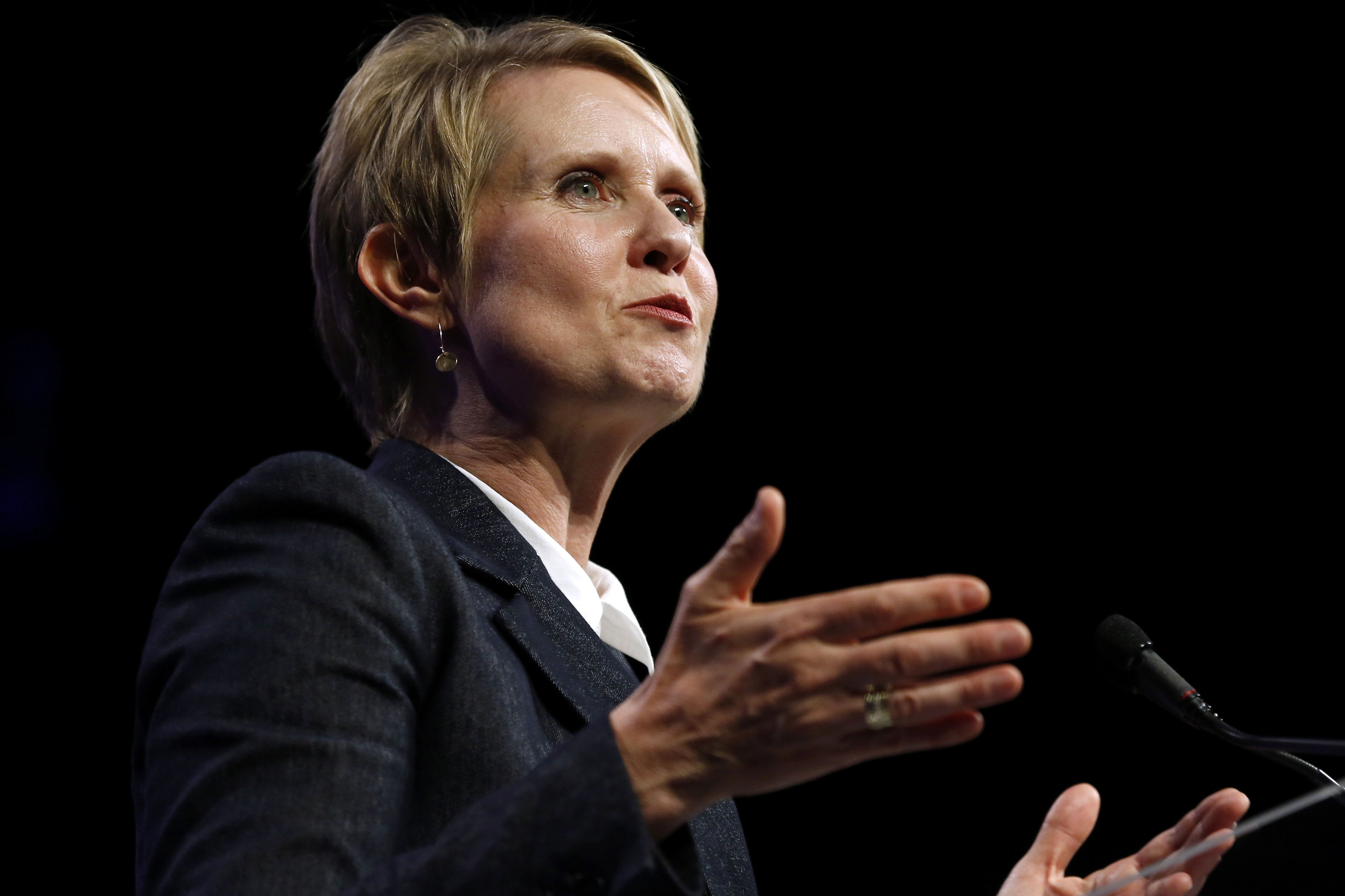 Cynthia Nixon, gubernatorial candidate for the State of New York, speaks at the Netroots Nation annual conference for political progressives in New Orleans, Louisiana, U.S. August 3, 2018. REUTERS/Jonathan Bachman