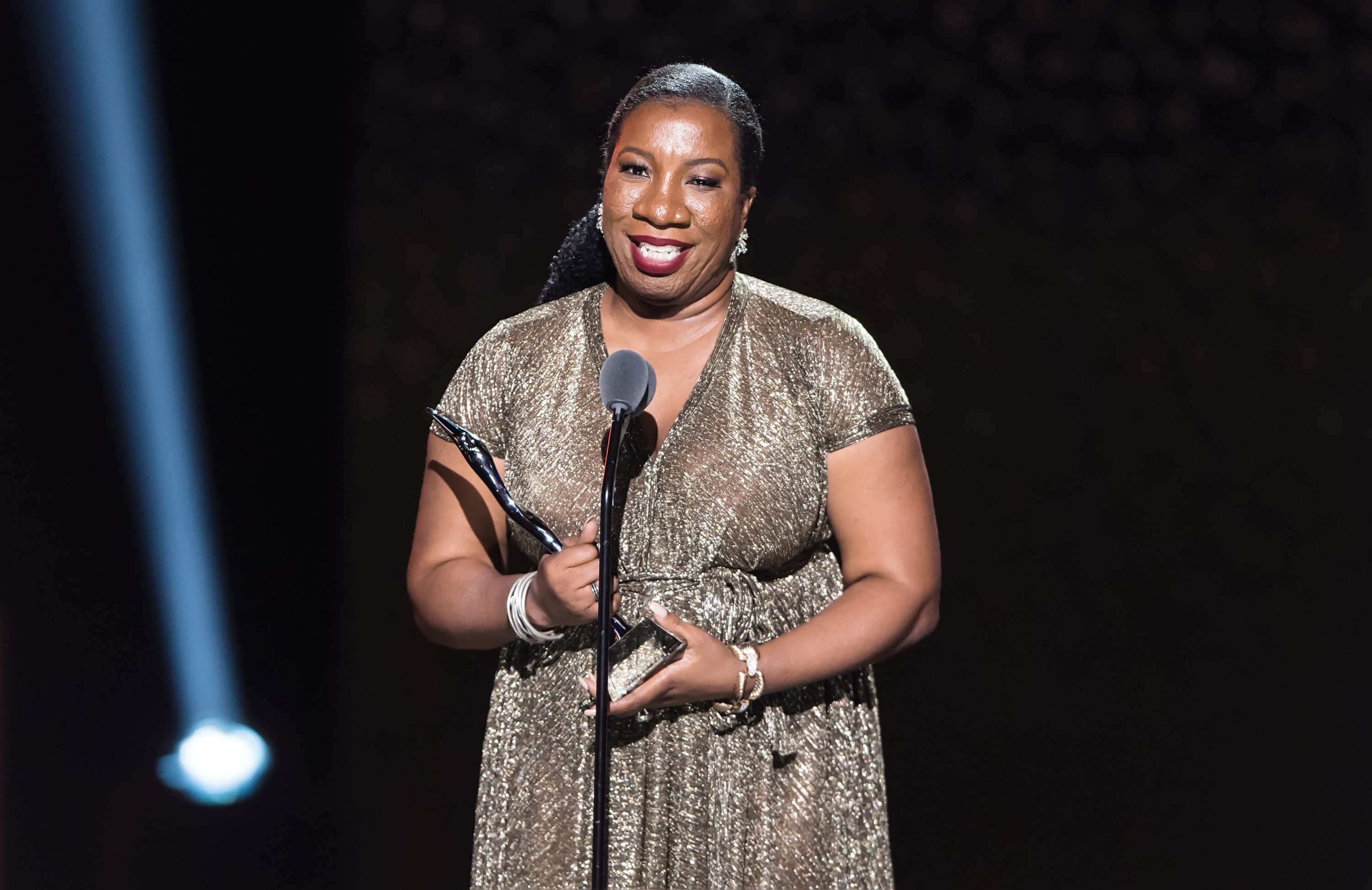 NEWARK, NJ - AUGUST 26:  Civil rights activist who founded the Me Too movement and Community Change Agent award recipient Tarana Burke  speaks on stage during the 2018 Black Girls Rock! at New Jersey Performing Arts Center on August 26, 2018 in Newark, New Jersey.  (Photo by Gilbert Carrasquillo/WireImage)
