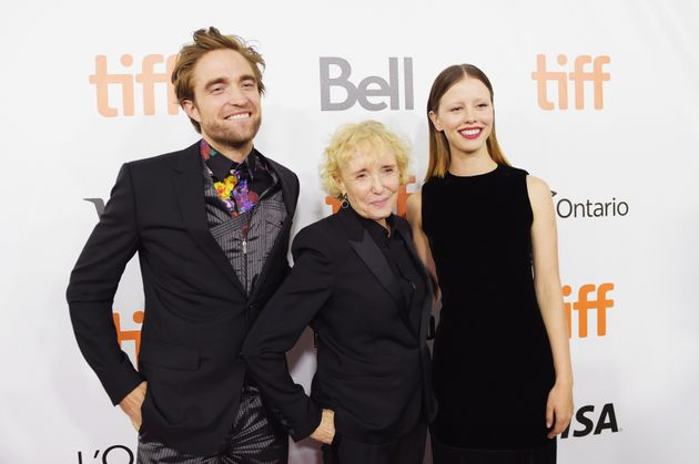 """(From left) Robert Pattinson, Claire Denis and Mia Goth at the """"High Life"""" premiere during..."""