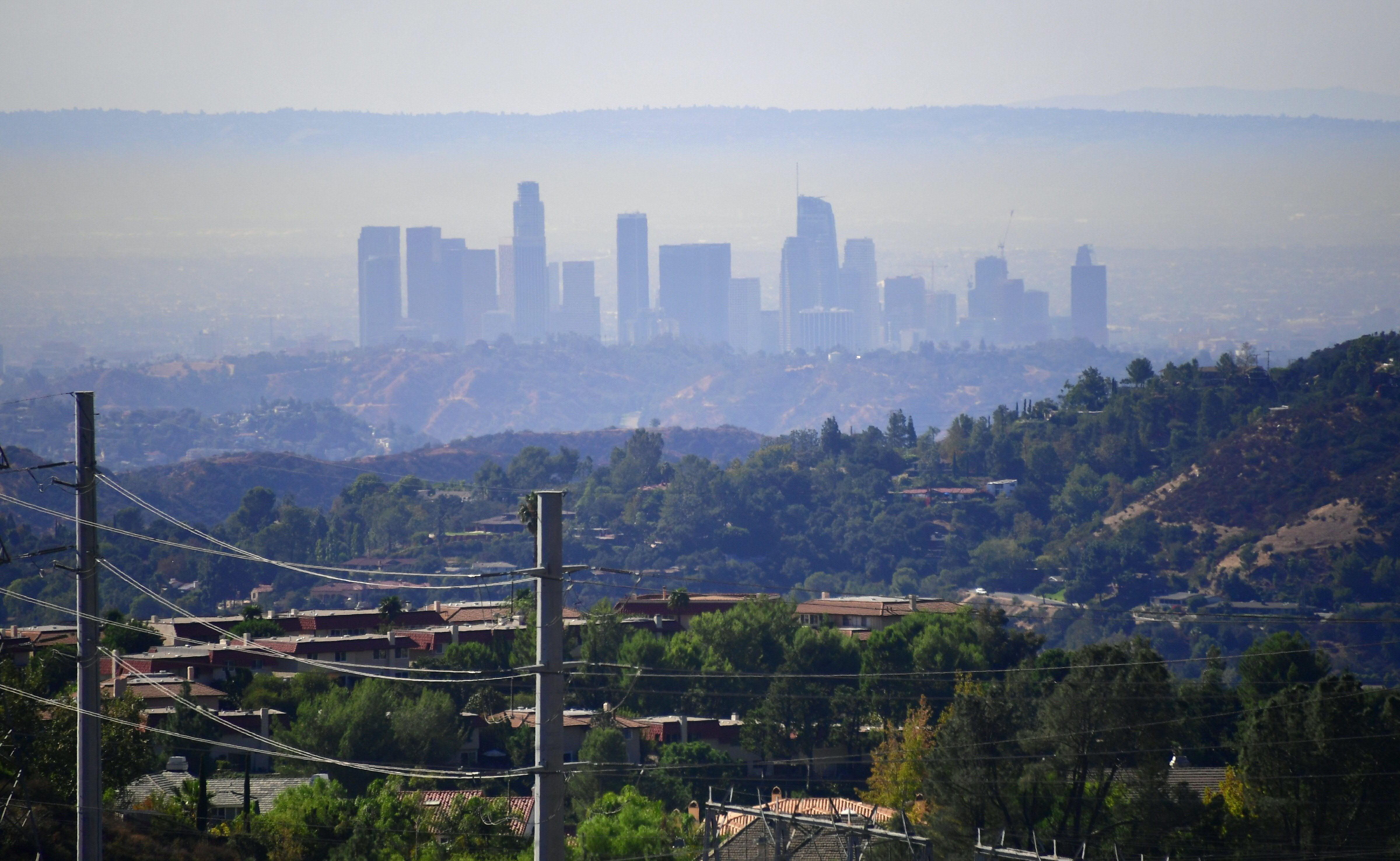 A layer of pollution can be seen hovering over Los Angeles, California on October 17, 2017, where even though air quality has