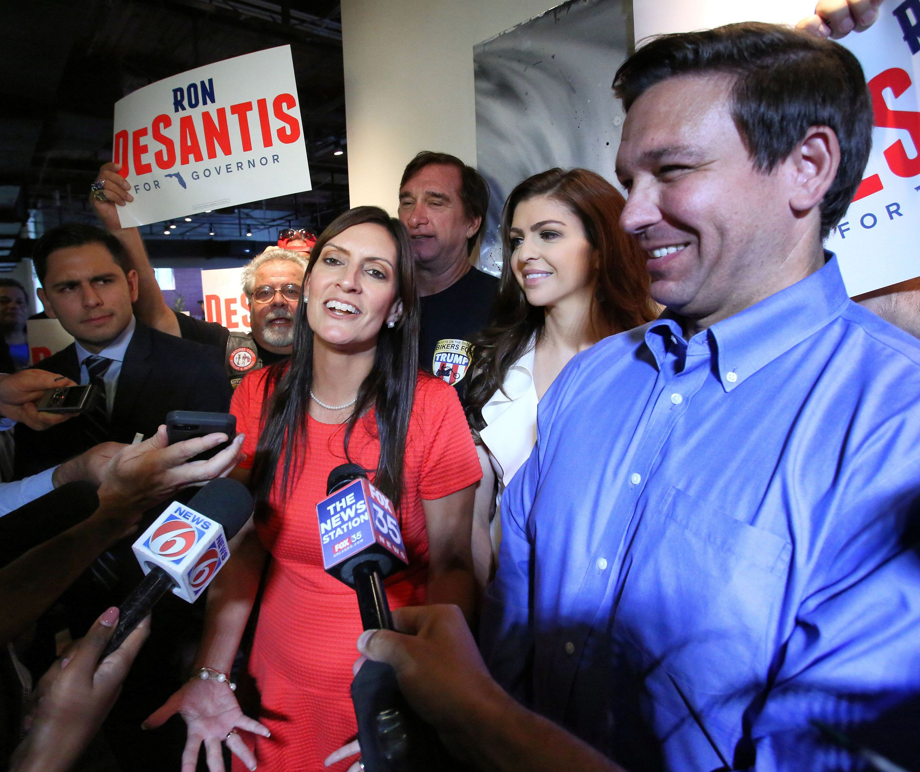Republican nominee for the Florida governor, Ron DeSantis, introduces his running mate, Jeanette Nunez, after the rally where Republican nominees for the 2018 election gathered at the Ace Cafe in downtown Orlando, Thursday, Sept. 6, 2018. (Joe Burbank/Orlando Sentinel/TNS/Sipa USA)