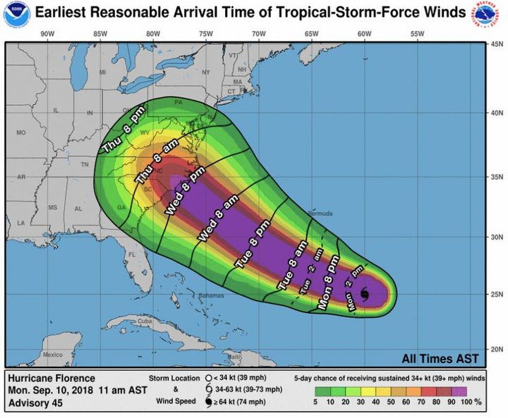 Hurricane Florence is forecast to hit the Carolinas later this week.