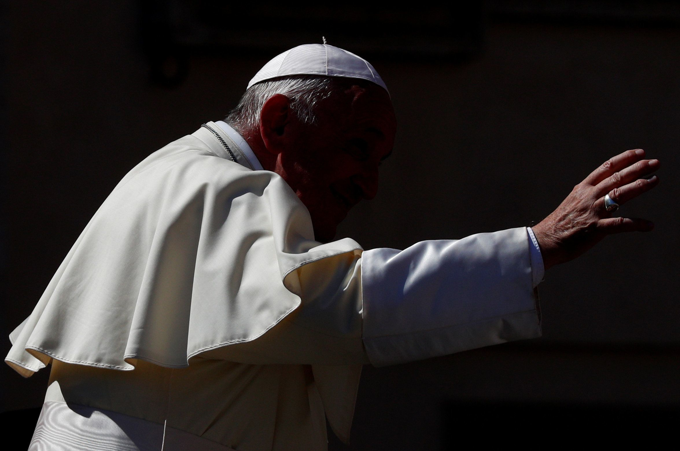Pope Francis waves as he leaves after the Wednesday general audience in Saint Peter's square at the Vatican, September 5, 2018. REUTERS/Max Rossi